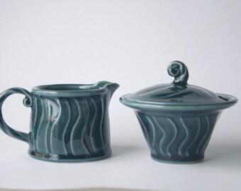Blue sugar bowl and milk jug set - stoneware, wheel thrown