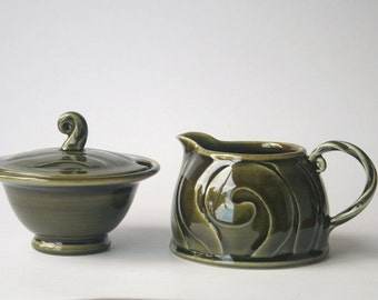Green sugar bowl and milk jug set - stoneware, wheel thrown
