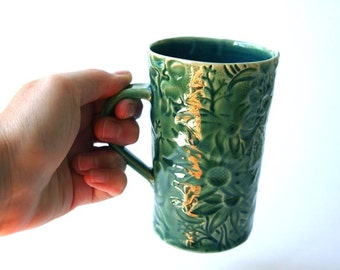 Green Ceramic Mug with Australian Flannel Flower Design