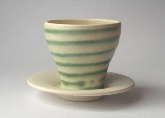 Wheel thrown stoneware creamy white and green striped cup with Saucer
