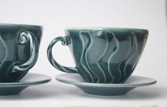 A Pair of Blue Teacups with Saucers - REDUCED - Wheel thrown