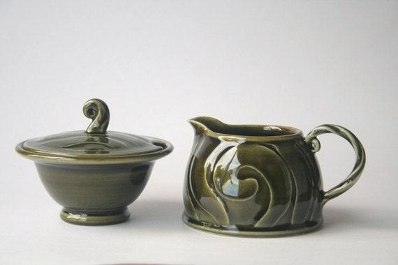 Green sugar bowl and milk jug set - stoneware, wheel thrown