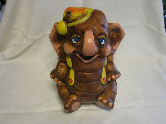 Adorable vintage elephant cookie jar by rockislanddesigns on etsy - Vintage elephant cookie jar ...