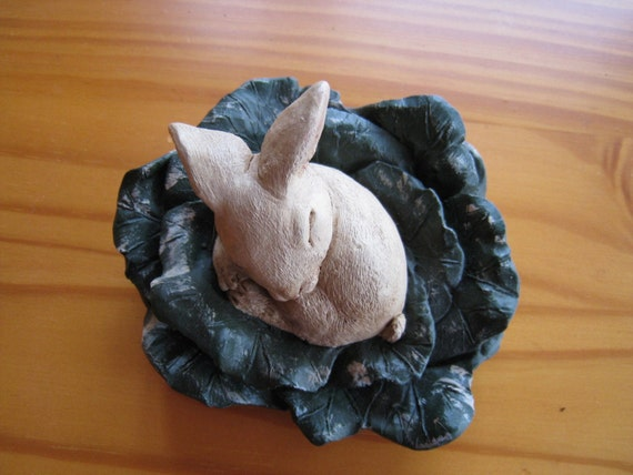 Bunny in the Cabbage Handpainted Pecan Shell Resin