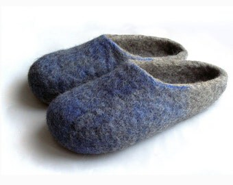 Felted natural wool slippers for men ECO GRAY  BLUE,  / Gray / silver / haze /platinum / men