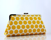 LIMITED EDITION ITEM - Yellow Polka Dots - 8 inches Large Silver Frame Clutch - the Christine Clutch
