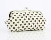 Polka Dots (Brown on White) - 8 inch Large Frame Clutch