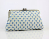 Retro style polka dots (Light blue on white) - 8 inches Large Silver Frame Clutch - the Christine Clutch