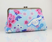 Sample Sale - Cinnamoroll with Peony (Blue) - 8 inches Large Silver Frame Clutch - the Christine Clutch