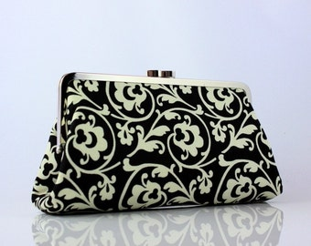 Black and White Classic Floral Pattern Bridesmaid Clutch / Kisslock Frame Clutch - the Christine Style Clutch