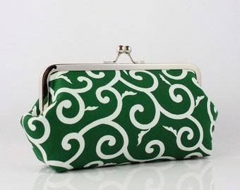 Green & White Modern Floral Pattern - 8 inch Large Silver Frame Clutch - the Emma Style Clutch