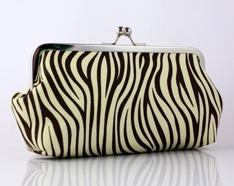 Zebra (Brown and White) - 8 inch Large Silver Frame Clutch - the Emma Style Clutch