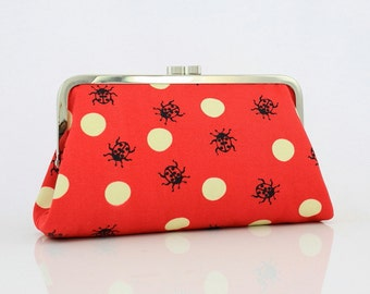 Red Polka Dots and Beetles - 8 inches Kisslock Frame Clutch - the Christine Clutch