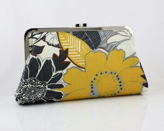 Mustard Flower - 8 inches Bridesmaid Clutch - the Christine Style Clutch