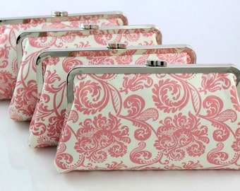 Pink Damask - 8 inches Bridal and Bridesmaid's Silver Frame Clutches - Set of 4