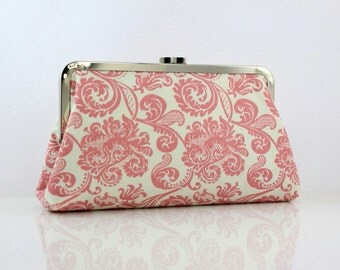 Pink Damask - 8 inches Large Silver Frame Clutch - Bridesmaid Clutch - the Christine Clutch