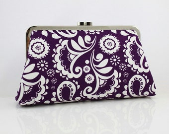 Blockprint Blossom Purple - 8 inches Large Silver Frame Clutch - the Christine Clutch