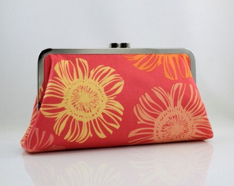 Bridesmaid Clutch - Red & Yellow Flowers - 8 inches Large Silver Frame Clutch - the Christine Clutch