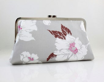 Grey & White Floral Pattern - 8 inches Larger Silver Frame Clutch - the Christine Clutch