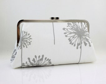 Grey Dandelion - 8 inches Bridesmaid Clutch - the Christine Style Clutch