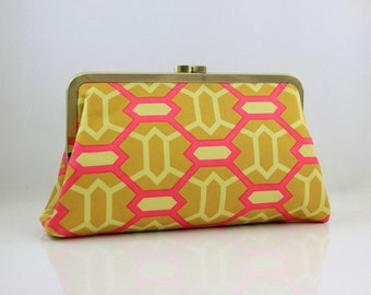 Heirloom Marquis Gold & Pink - 8 inches Large Silver Frame Clutch -the Christine Clutch