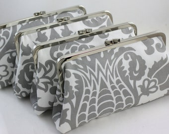 Grey & White Flower Pattern - 8 inches Bridal and Bridesmaid's Silver Frame Clutches - Set of 4