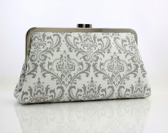 Gray & White Damask - 8 inches Bridesmaid Clutch - the Christine Style Clutch