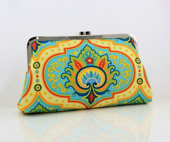 Royal Floral Pattern Kisslock Clutch - the Christine Style Clutch