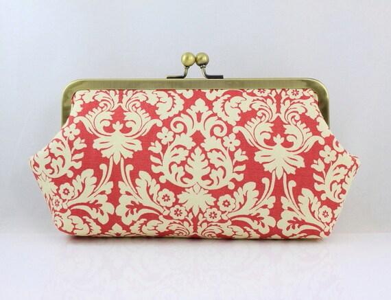 Classic Pink Damask Bridesmaid Clutch / Wedding Purse / Wedding Gift - the Emma Style Clutch