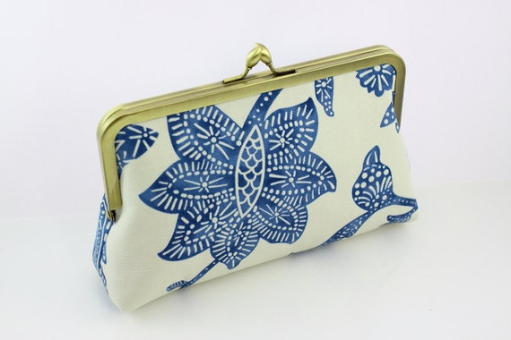 The Blue Lotus - 8 inches Bridesmaid Clutch - the Florence Style Clutch