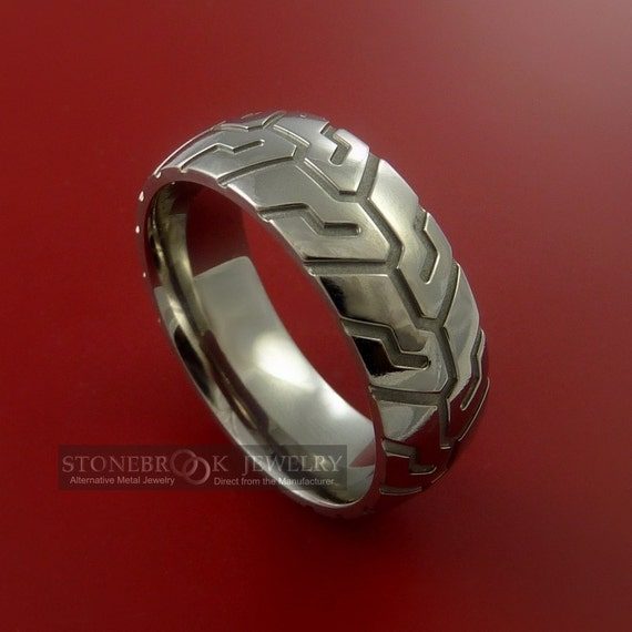 titanium carved design ring bold unique band by