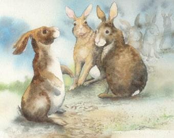 Print Watching The Gardener 8 by 10 open edition humor rabbit bunny garden