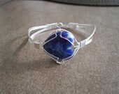 Silver Bracelet with Sodalite Heart, Wristsize: 7.5 inch