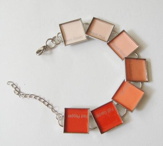Coral Ombre Paint Chip Bracelet