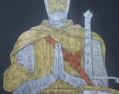 King Robert the Bruce, c. 1329, Dunferline Abbey, Scotland - an Historical Brass Rubbing...MARKED DOWN 20%..Free Shipping