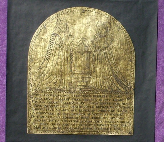 A love story...A Brass Rubbing from the memorial to John and Mary Rixman....MARKED DOWN 50%