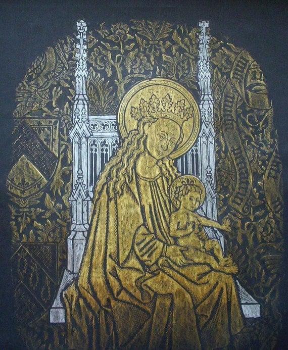Madonna and Child, original brass rubbing ...