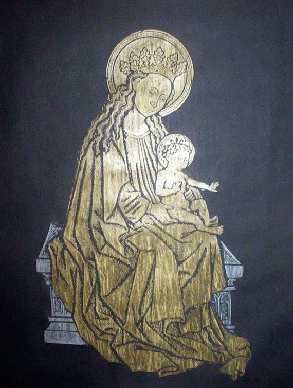 Gold and Silver Lovely Lady Madonna and Child, C. 1460 Brass Rubbing