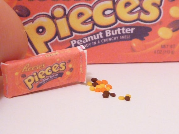 Miniature Dollhouse Box of Reeses Pieces Chocolate Candy