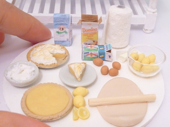 Miniature Dollhouse Lemon Meringue Pie Prep Board