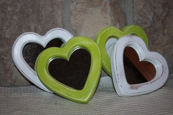 Lime Green and White  Shabby Chic Distressed Mirrored Heart Frames