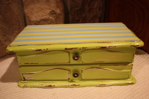 Shabby Chic Distressed Lime Green Jewelry Box