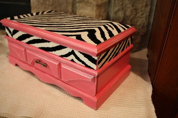 Shabby Chic Distressed Hot Pink Zebra Jewelry Box