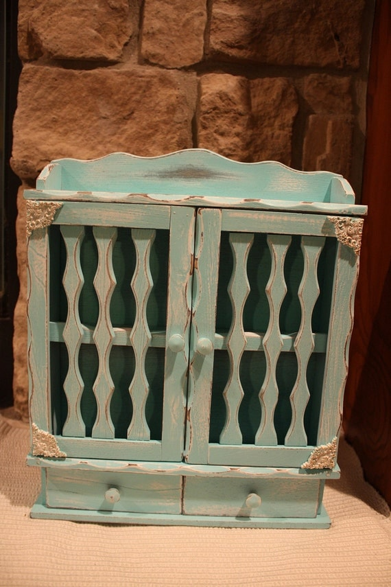 Shabby Chic Distressed Blue Curio Cabinet