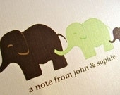 Reserved Listing for Laurel - Elephant Family Personalized Folded Note Card Set of 16
