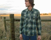 1970's  Men's Green Plaid WESTERN Flannel Shirt THE GREGORY