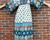 1970's BOHO Bluebird GYPSY Batik Dress (Small)