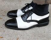 Vintage Italian Men's Two Tone Black & White Leather Shoes