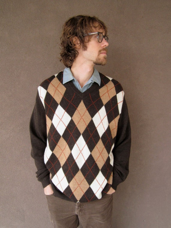 1980's Men's BROOKS BROTHERS Brown Argyle Sweater