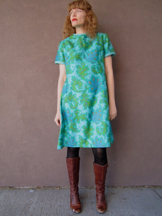 1960's PEACOCK FEATHER Silk Shift Dress (M)